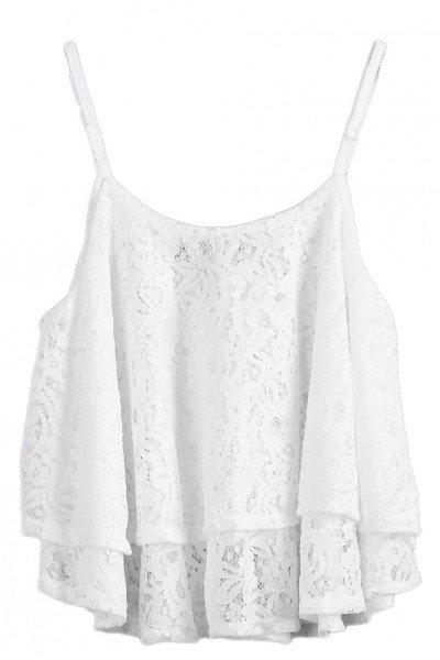 KCLOTH Floral Lace White Vest
