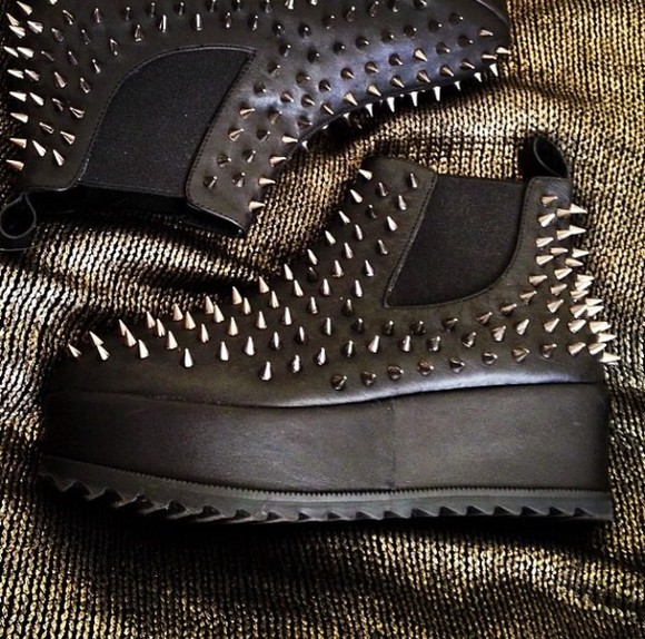 shoes studded shoes black metal platform shoes spikes unif jeffrey campbell