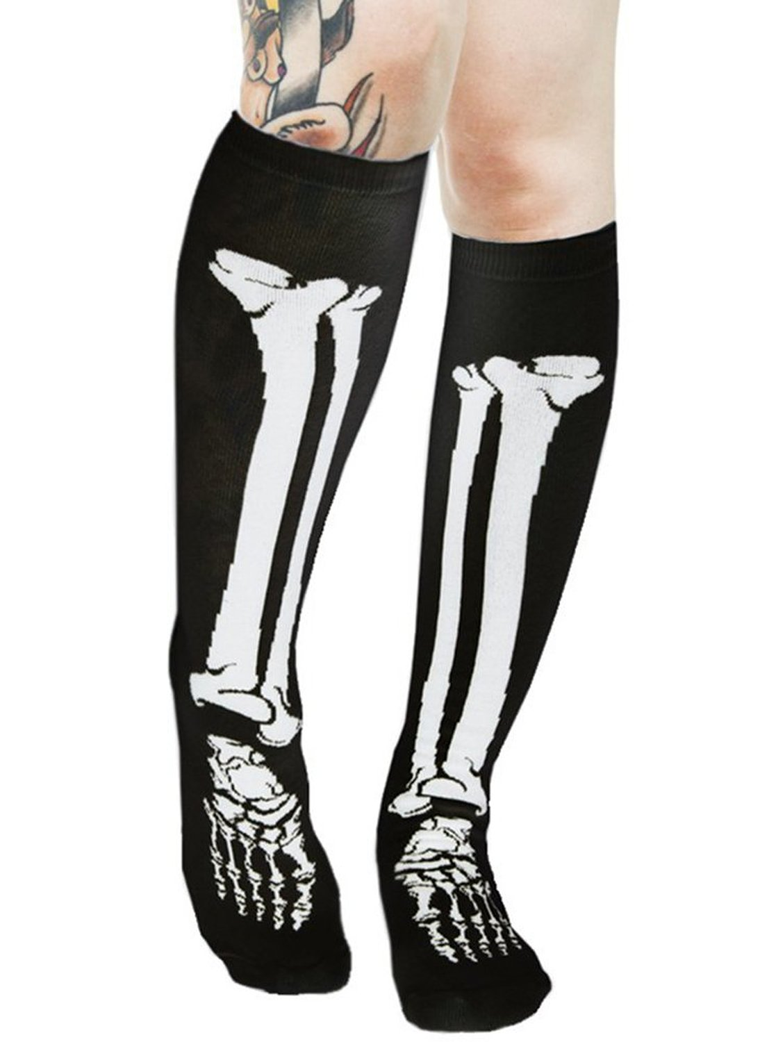 fc91a4c2d81 Amazon.com  Skeleton Bone Knee High Socks Halloween Cosplay ...