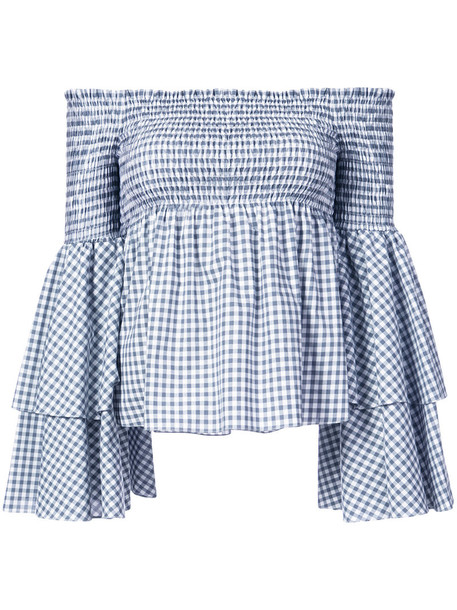 Caroline Constas - off-the-shoulder gingham blouse with layered fluted sleeves - women - Cotton - L, Grey, Cotton