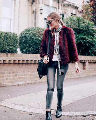 jacket tumblr fur jacket faux fur jacket burgundy denim jeans grey jeans boots ankle boots bag black bag sunglasses