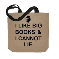 I Like Big Books And I Cannot Lie Funny Cotton Canvas Tote Bag - Eco Friendly in Natural / Black on Wanelo