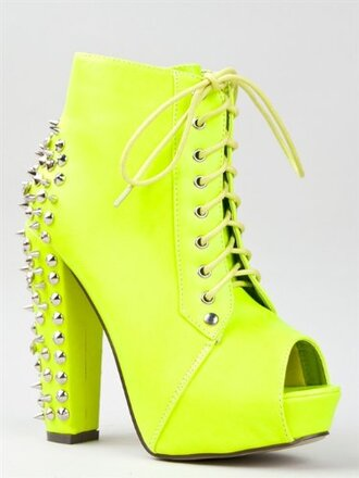 shoes jeffrey campbell jeffrey campbell lita red kiss kouture yellow neon spiked boots hispter instagram