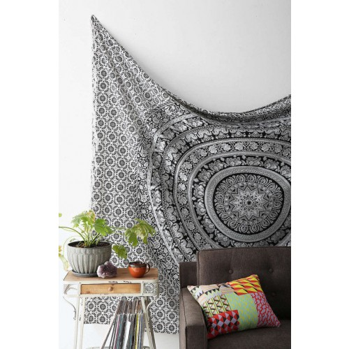 Elephant wall hanging wall decoration mandala tapestry for Decoration murale elephant
