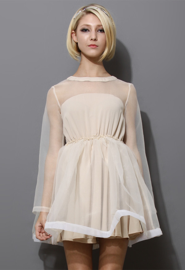 dress dreamy sheer crepe panel nude