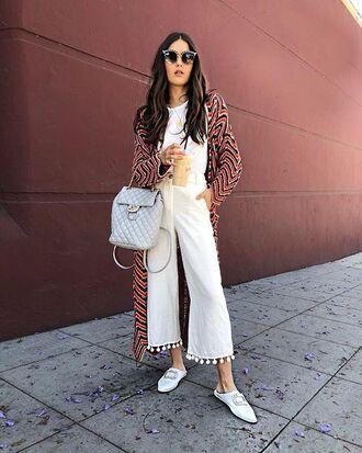 pants white pants white wide leg pants backpack white top shoes white shoes sunglasses