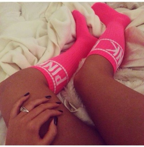 socks pink knee high socks