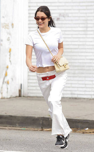 pants top spring outfits sneakers bella hadid model off-duty white white top