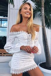 dress,romee strijd,white,white dress,off the shoulder,off the shoulder dress,summer dress,instagram