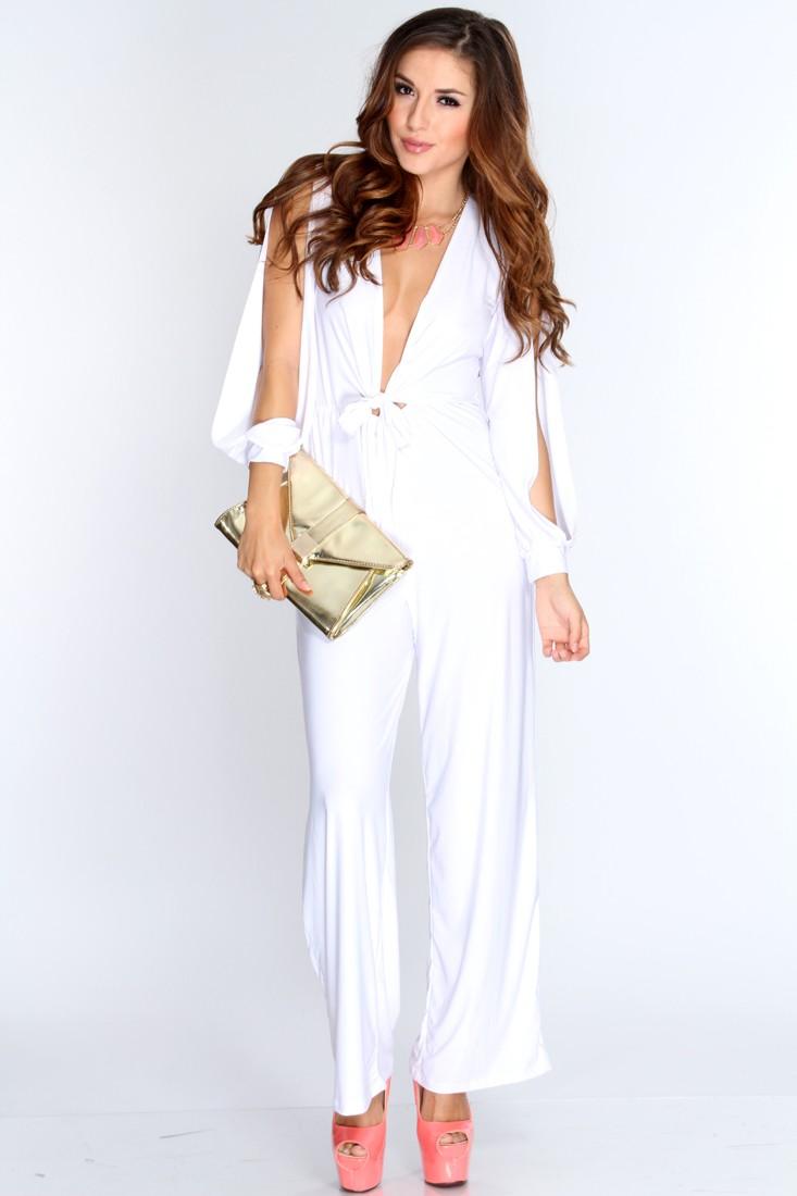 White Long Slit Sleeves Stylish Jumpsuit
