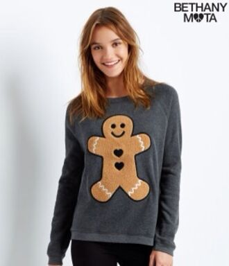 grey sweater gingerbread gingerbread man christmas sweater