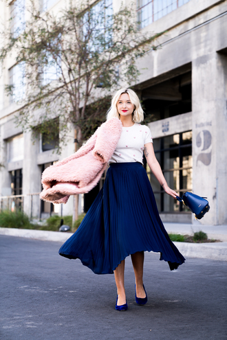 late afternoon blogger skirt top jacket shoes bag winter outfits pink coat blue skirt pleated skirt blue bag blue shoes