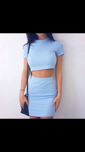 skirt baby blue outfit tumblr outfit cute outfits cute top blue blue shirt blue top blue skirt summer spring spring outfits casual