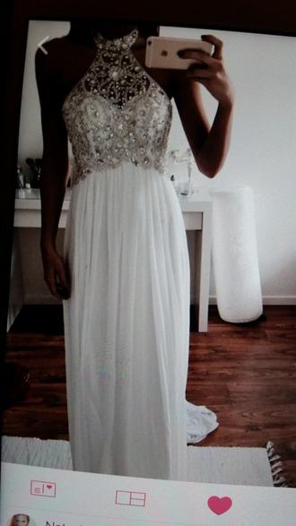 dress white dress silver sequin dress long dress weheartit