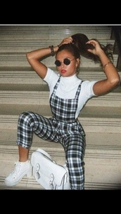 jumpsuit,checkered,dungarees,fashion,style,outfit,overalls,satchel bag