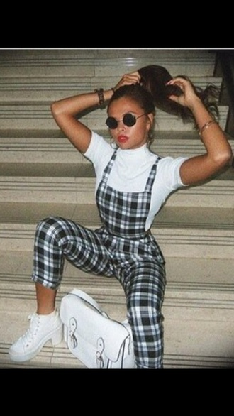 jumpsuit checkered dungarees fashion style outfit overalls satchel bag