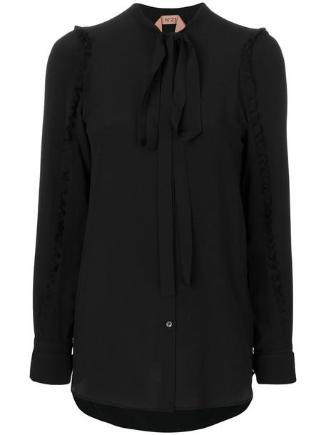 No21 - neck tie shirt - women - Silk/Acetate - 38, Black, Silk/Acetate
