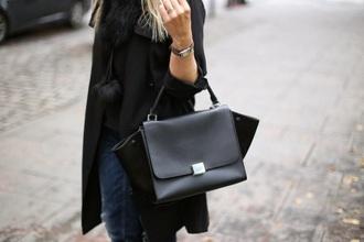 bag black leather bag leather bag handbag purse leather