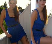 dress,fringed dress,blue fringe,blue dress,fringes,blue