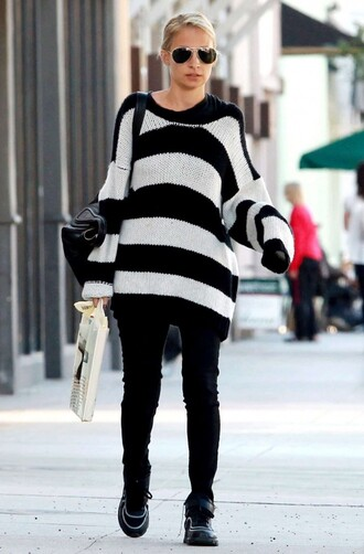 sweater oversized sweater oversized stripes striped sweater nicole richie fall outfits