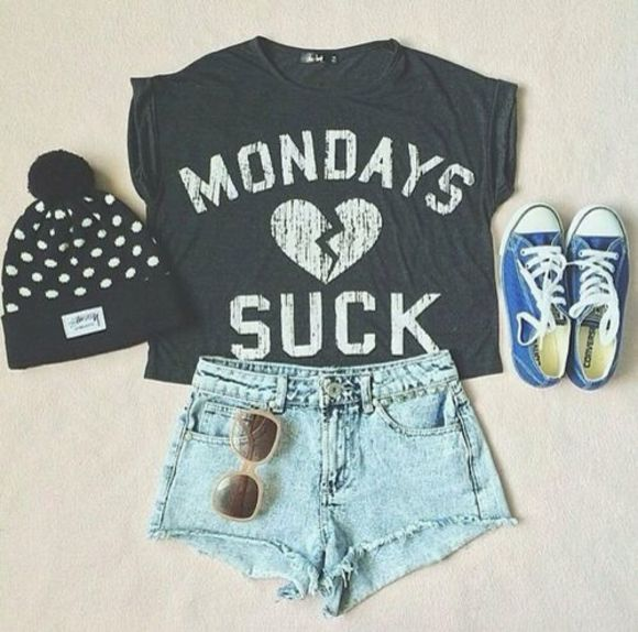 shorts converse hat beanie crop tshirt sunnies t-shirt shirt mondays suck