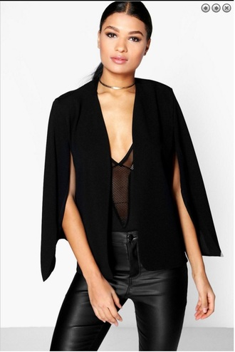 coat cape blazer black cape blazer