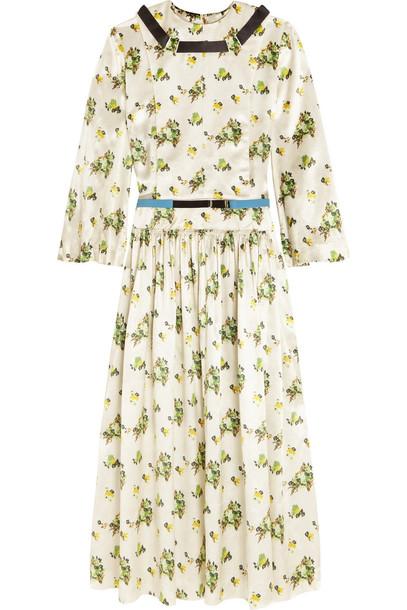 Toga dress satin dress floral print satin white green off-white