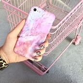 phone cover,yeah bunny,marble,pink,pastel,iphone case
