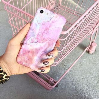 phone cover yeah bunny marble pink pastel iphone case