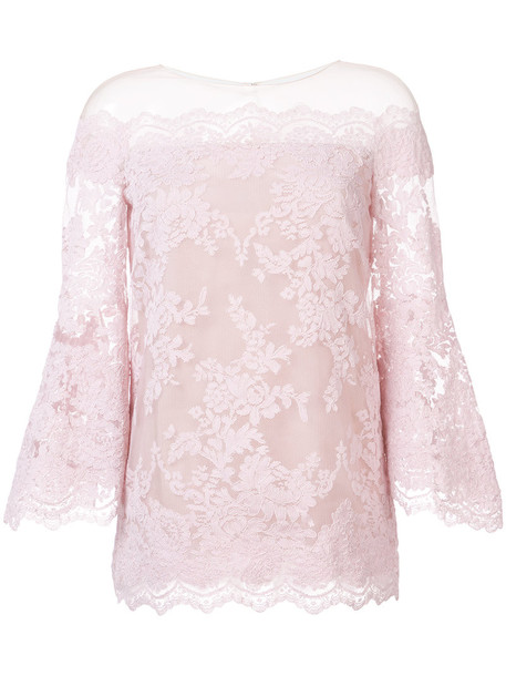 Marchesa blouse women lace silk purple pink top
