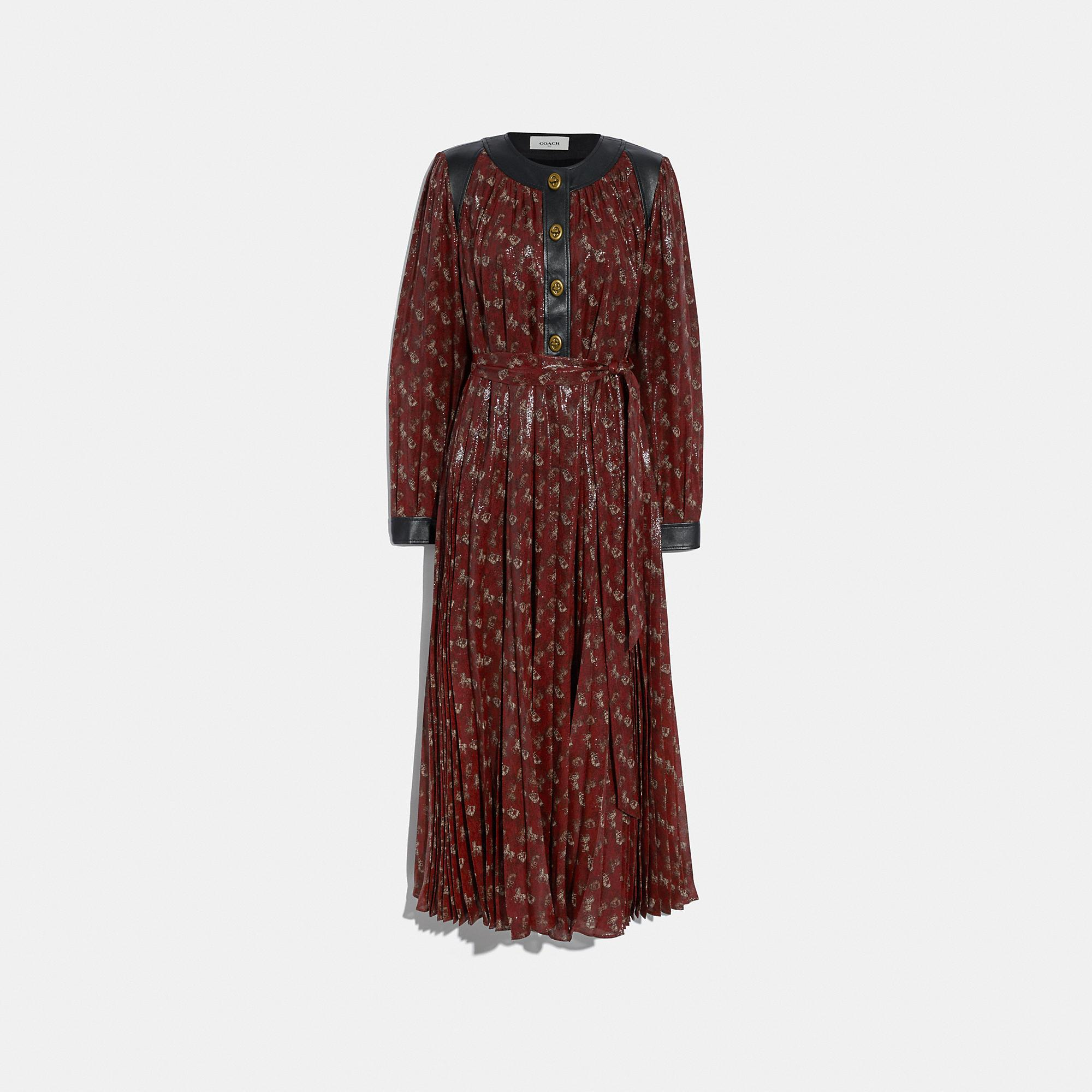 Lurex Horse And Carriage Print Pleated Dress