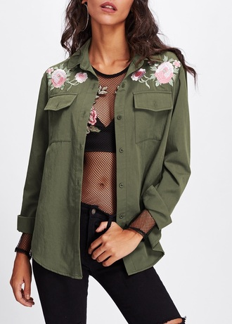jacket embroidered girly green olive green button up floral