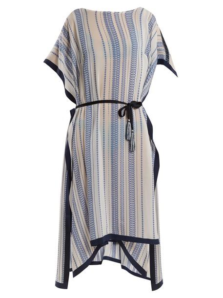 ZEUS + DIONE jacquard geometric silk white top