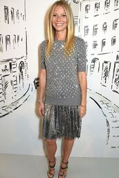 sweater,top,blouse,grey,metallic,silver,pleated skirt,gwyneth paltrow,sandals,midi skirt,shoes,metallic blouse