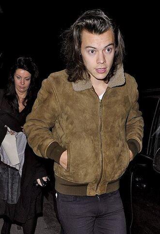 jacket harry styles one direction suede jacket mens jacket shearling jacket