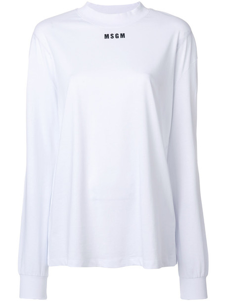 MSGM t-shirt shirt t-shirt women white cotton print top