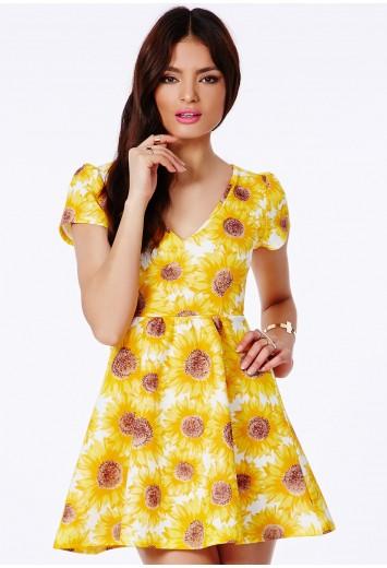 Luana skater dress in sunflower print dresses skater for Sunflower dresses for wedding