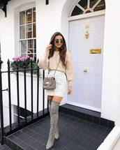 bag,crossbody bag,mini skirt,pleated skirt,suede boots,thigh high boots,sweater,sunglasses