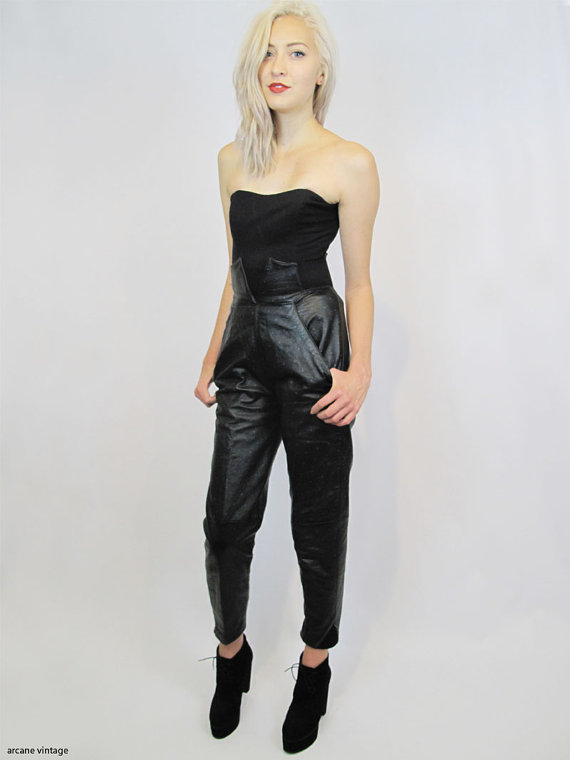 High waisted black leather pants with