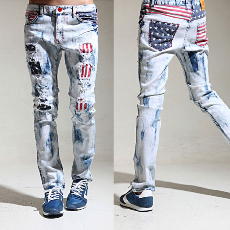 Mens baggy pants cargo pant usa flag patch straight fit denim skinny jeans