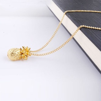 jewels gold pineapple fashion style trendy summer chain necklace bikiniluxe-feb bikini luxe jewelry bikini bottoms jewelry girly girl girly wishlist gold necklace