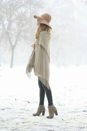scarf,high heels,floppy hat,hat,winter outfits,fashion,cardigan,bohemian sweater,shoes,boots hat scarf,boho,fall outfits,poncho