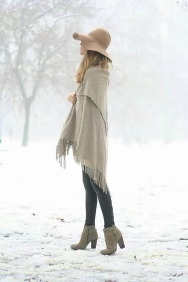 hat floppy hat fashion scarf high heels winter outfits winter
