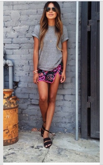 skirt multi colored shoes sunglasses t-shirt mini skirt sincerely jules