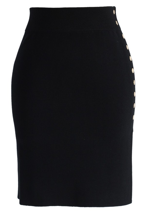 chicwish pencil skirt black skirt stud knitted