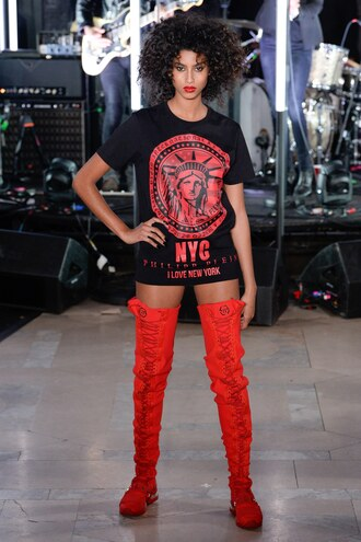 top t-shirt philipp plein ny fashion week 2017 runway over the knee boots red nyfw 2017 fashion week 2017