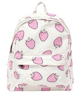 bag cute pink white backpack cool strawberry kawaii kawaii bag white with pink strawberry background strawberry bag bookbag