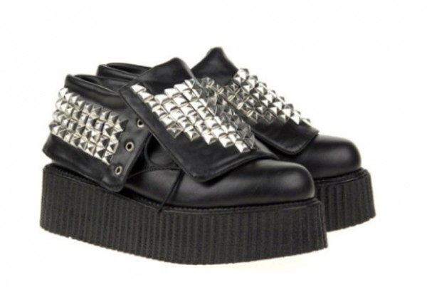 leather black silver studded studs creepers platform shoes platform shoes shoes creeper studded shoes