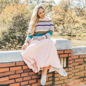 cortinsession,blogger,sweater,skirt,shoes,striped sweater,pleated skirt,pink skirt,sneakers