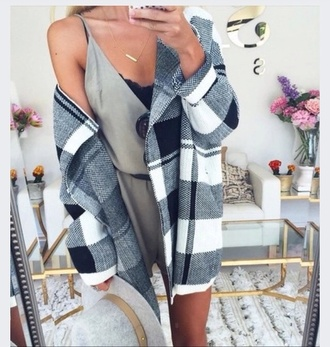 coat black and white checked coat spring jacket style fall coat sweater white blue plaid white top jacket cardigan grey cardigan grey coat winter coat wool soft